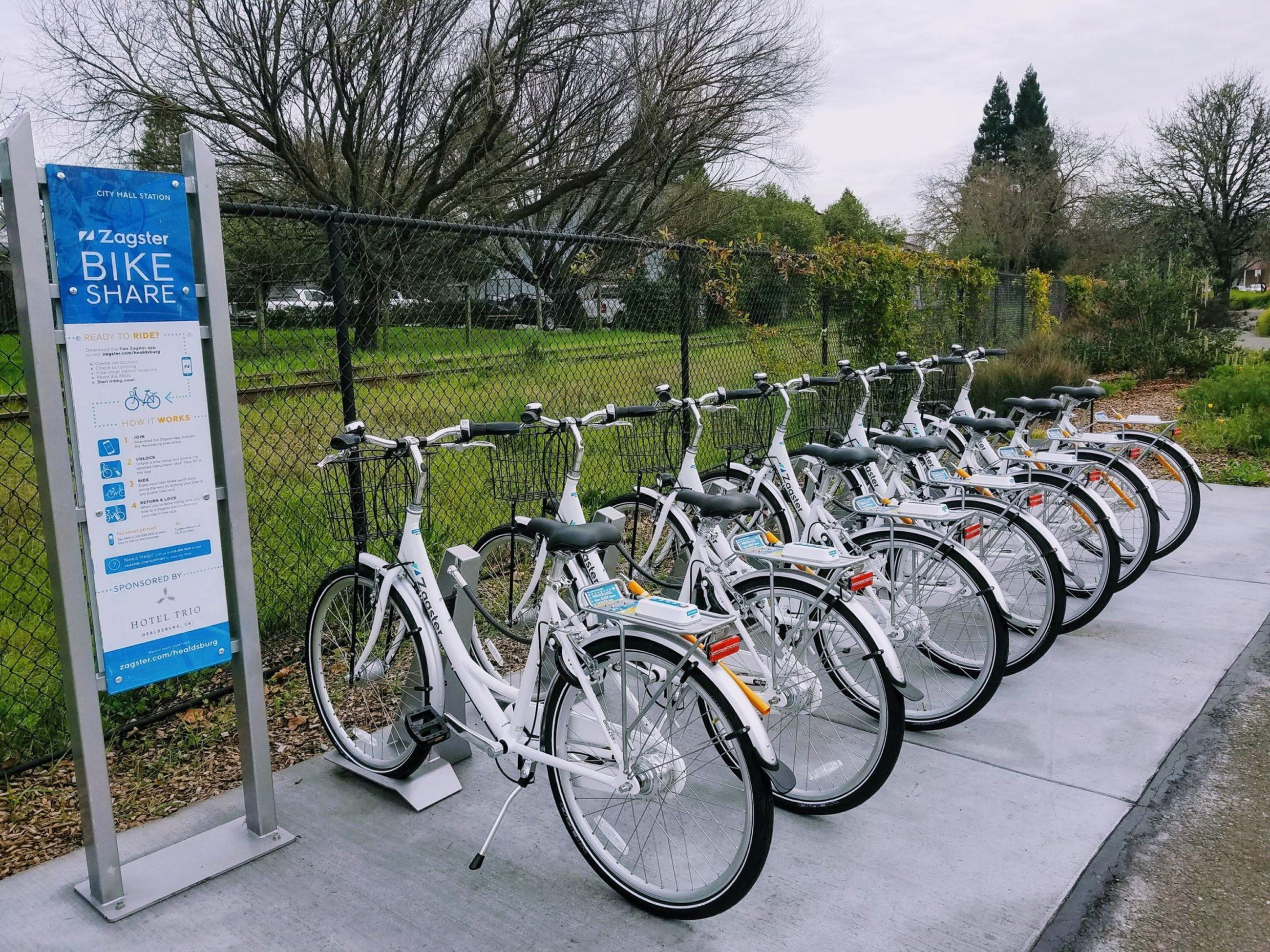 Zagster bicycles at bike-share station